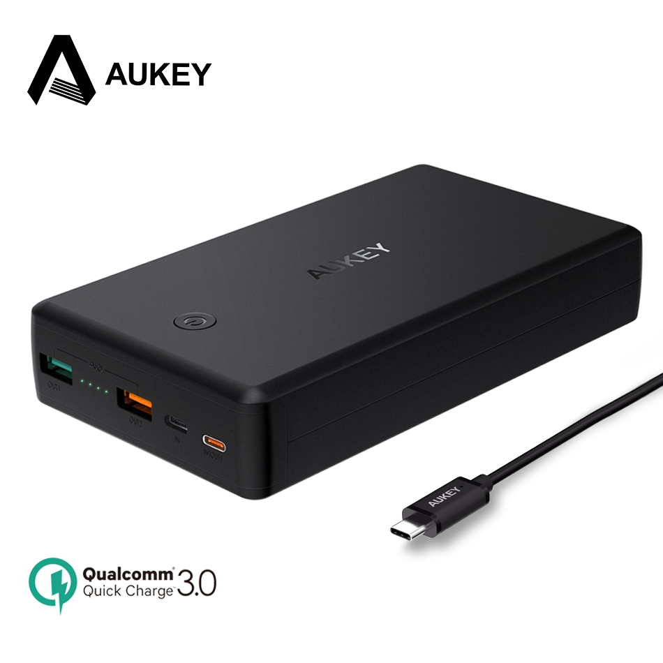 AUKEY 30000mAh Power Bank PD Quick Charge 3.0 Powerbank USB C External Battery For Xiaomi Dual QC 3.0 + USB PD Type C Poverbank
