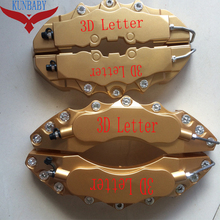 On sale KUNBABY 4 Pcs ABS Plastic Gold Car Auto 3D Word Style Disc Brake Caliper Covers Front And Rear Size M+L