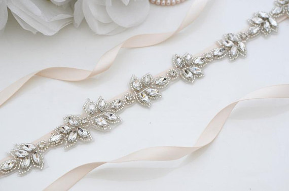 MissRDress Crystal Wedding Belt Handmade Beads Bridal Sash Silver Rhinestones Bridal Sash Belt For Wedding Accessories JK870