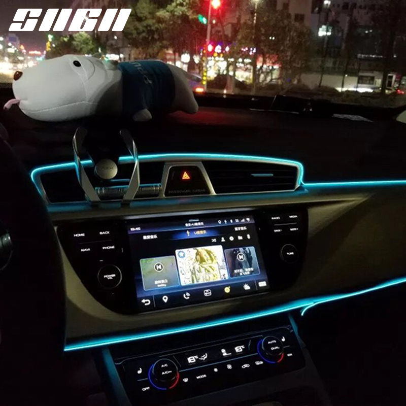 Sncn Flexible Neon Led Car Interior Atmosphere Lights Strip For Lincoln Navigator Continental Mkx Mkz Mkc Mkt 3m/5m Red Blue Exterior Accessories