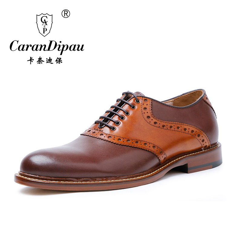 2017 New High Quality Genuine Leather Men Shoes Brogues, Lace-Up Bullock Business Men Oxfords Shoes Men Dress Shoes Flats