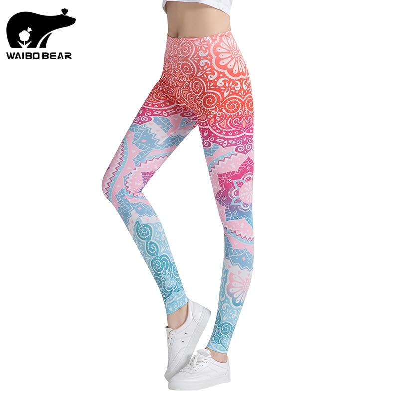 2017 3D Print Elastic Fitness Legins Punk Women High Waist Leggins Stretch Workout Casual Slim Pencil Pants   Leggings   WAIBO BEAR
