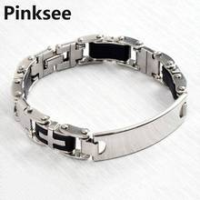Punk Cool Mens Rubber Silver ID Cross Stainless Steel Chain Bracelet link Bangle Cuff Wristbands Personality Jewelry