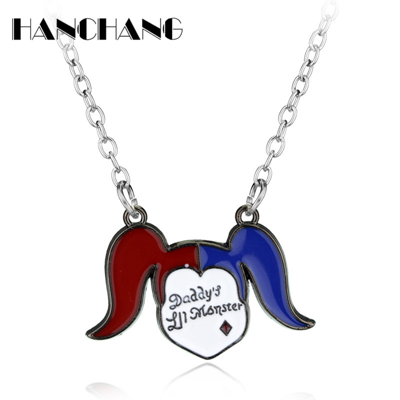 Suicide Squad Necklace Girls Quinn Joker Metal Necklace Women choker Necklace Hot Movie Jewelry