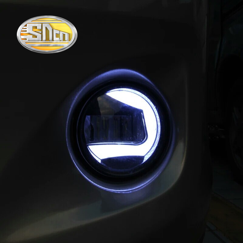 SNCN 2-in-1 Functions Auto Bulb LED Daytime Running Light DRL Car LED Fog Lamp Projector Light For Toyota Avanza 2012 - 2017 cawanerl h8 h11 auto fog light drl daytime running light car led lamp bulb for toyota prius hatchback zvw3 1 8 hybrid 2009