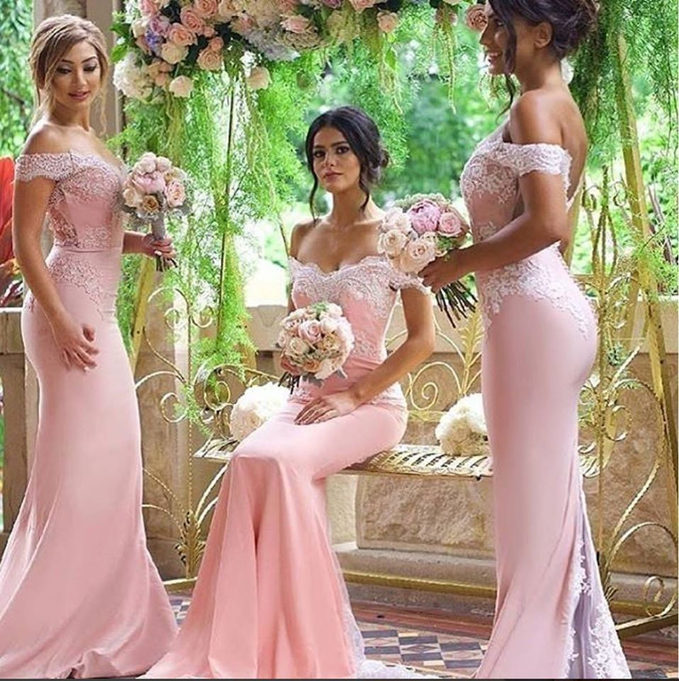 2016 new blushing pink sexy long formal floor length mermaid off 2016 new blushing pink sexy long formal floor length mermaid off the shoulder satin lace bridesmaid dresses with train ruched in bridesmaid dresses from ombrellifo Images