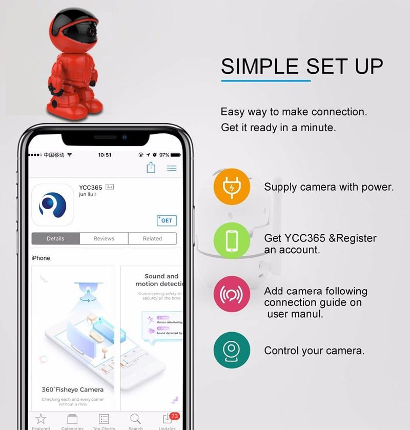 KONLEN Home Security Robot IP WIFI Camera HD 1080P 960P 2MP CCTV Baby  Monitor Wireless CMOS YCC365 IR-Cut Audio Night Vision