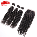 6A Brazilian Deep Wave Curly Virgin Hair With Closure Free Shipping Grade 6A Cheap Brazilian Deep Wave With Closure