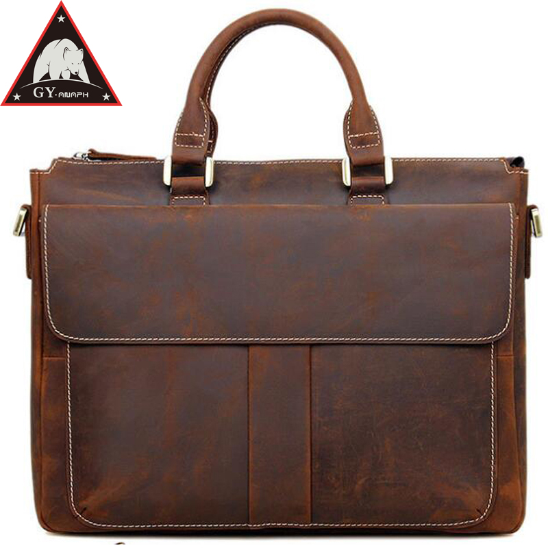 купить ANAPH Crazy Horse Full Grain Natural Leather Men's Briefcase 14 Inches Laptop Bag Top Quality Dress Office Bags For Men In Brown по цене 6799.75 рублей