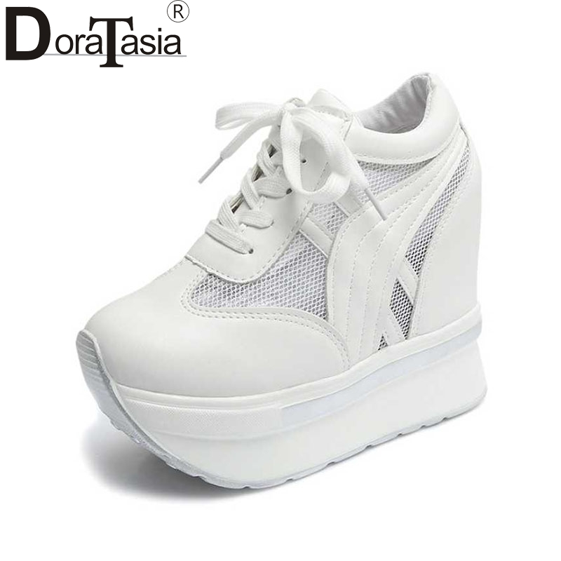 DoraTasia Air Mesh Women Pumps Vintage Lace Up Increased Internal Wedge Platform Shoes For Woman 2017 White Silver Footwear