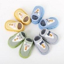Осенние хлопковые милые носки с бантом для маленьких мальчиков и девочек Теплый нескользящий носки-Тапочки