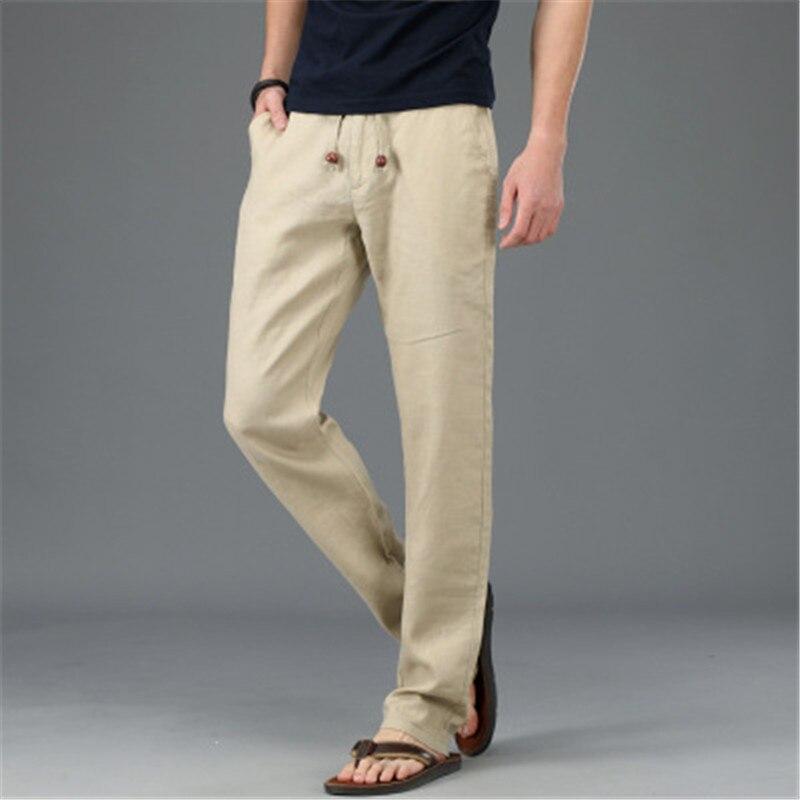 2018 di estate dei nuovi uomini di fresco e traspirante pantaloni di lino pantaloni lunghi degli uomini di X82