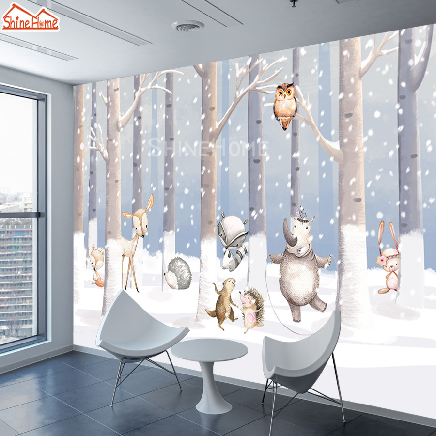 ShineHome-Cartoon Wall Papers Home Decor 3d Wallpaper For Kids Living Room Murals Roll 3 D Wallpapers Milu Deer Papel De Parede