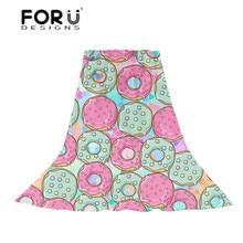 FORUDESIGNS Sweet Cartoon Doughnut Print Womens Scarves Ladies Pink Slik Scarf for Females Funny Food Pattern Beach Towel Hijab