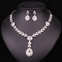 Fashion Wedding Clear Rhinestone Crystal Dubai Jewelry Set Brides Bridesmaid Prom Party Silver Plated Necklace Earrings Set Lady