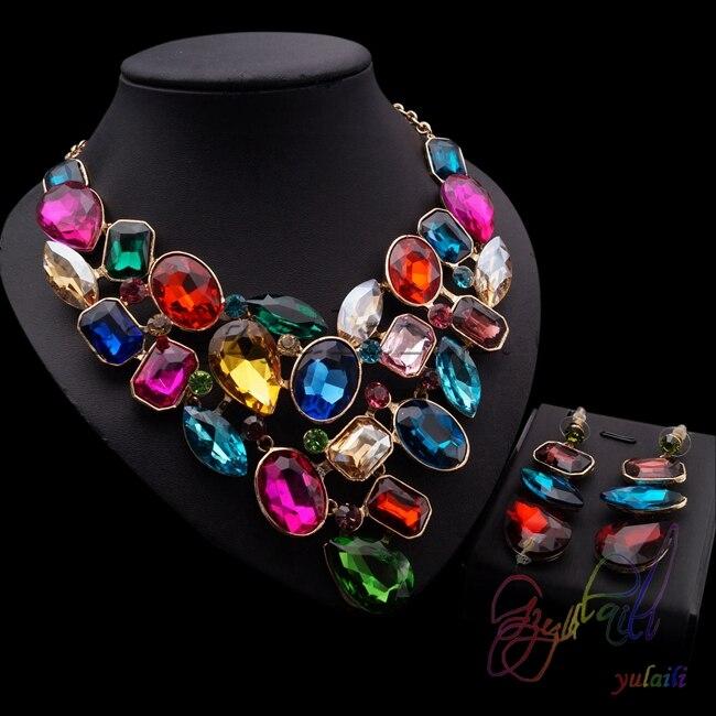 купить mix color big stones jewelry colorful crystal jewellery set popular wedding necklace sets по цене 4679.48 рублей