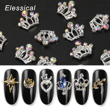 Elessical 10pcs Silver Crown Gold Alloy Nail Charm AB Rhinestone Gems Nails  Accessories DIY 3D Nail 44d2446ff8f7