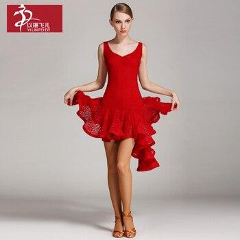 2019 Latin Dance Dress Women Lace Performance Dresses Competition Dance Costume Cha Cha/Samba/Rumba/Tango Practice Dress Skirt
