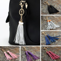 9 Colors Fashion Leather Tassels Keychain Gold Plated Bag Key Chain Ring Holder Retro Jewelry For Women Accessories