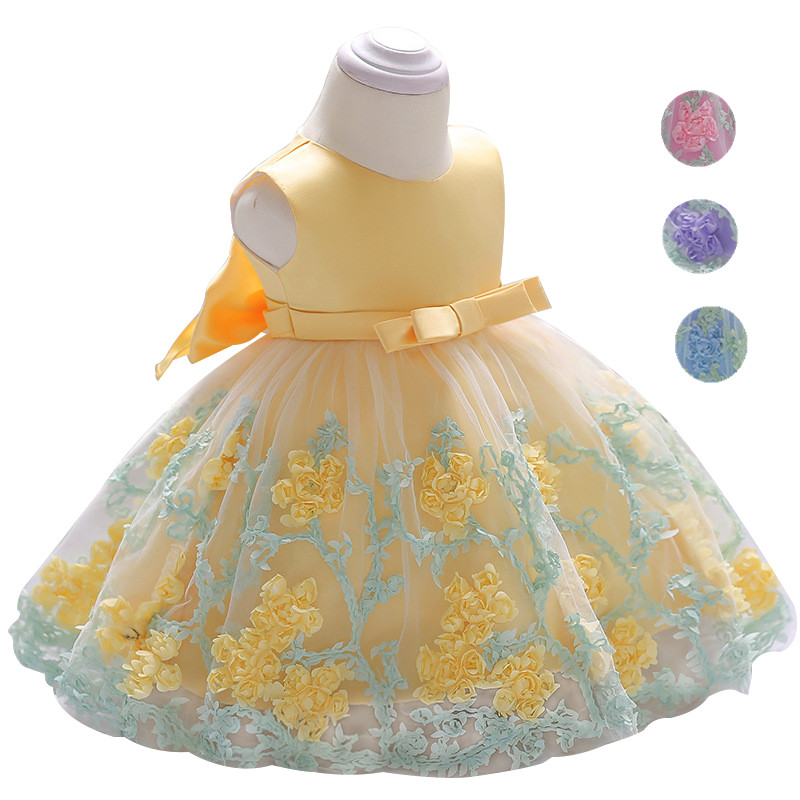 Newborn Baby Girl Dress Summer Flower Dresses for Girls 1st year birthday party wedding dress infant toddler 0-6yrs kids clothe(China)