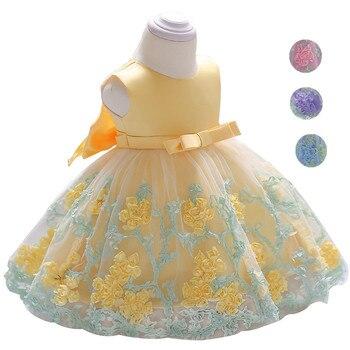 b5c4beb9b Vestido de bebé recién nacido vestidos de flores de verano para niñas 1 er  año fiesta de cumpleaños vestido de boda niño pequeño 0-6 años ropa de niños