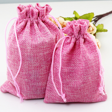 Christmas Wedding Favor Decoration Gift Jute Bags 100pcs Pink 14x20cm Jewelry Gift Candy Handmade Packing Pouches Customized