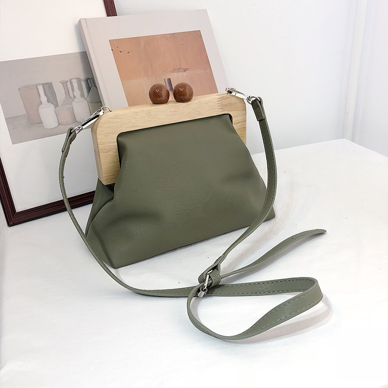 DAUNAVIA Women Bag Messenger Bag Simple Retro Pu Soft Leather Clip Bag Female Shoulder Evening Clutch Purse Leather Handbags