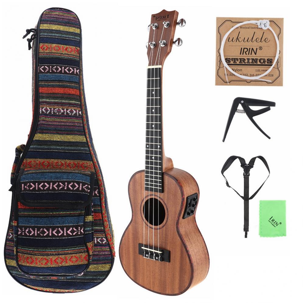 24 pouces Concert électroacoustique ukulélé Edge 18 Fret quatre cordes Hawaii guitare intégré égaliseur pick-up + sac + Capo + sangle + ficelle + tissu