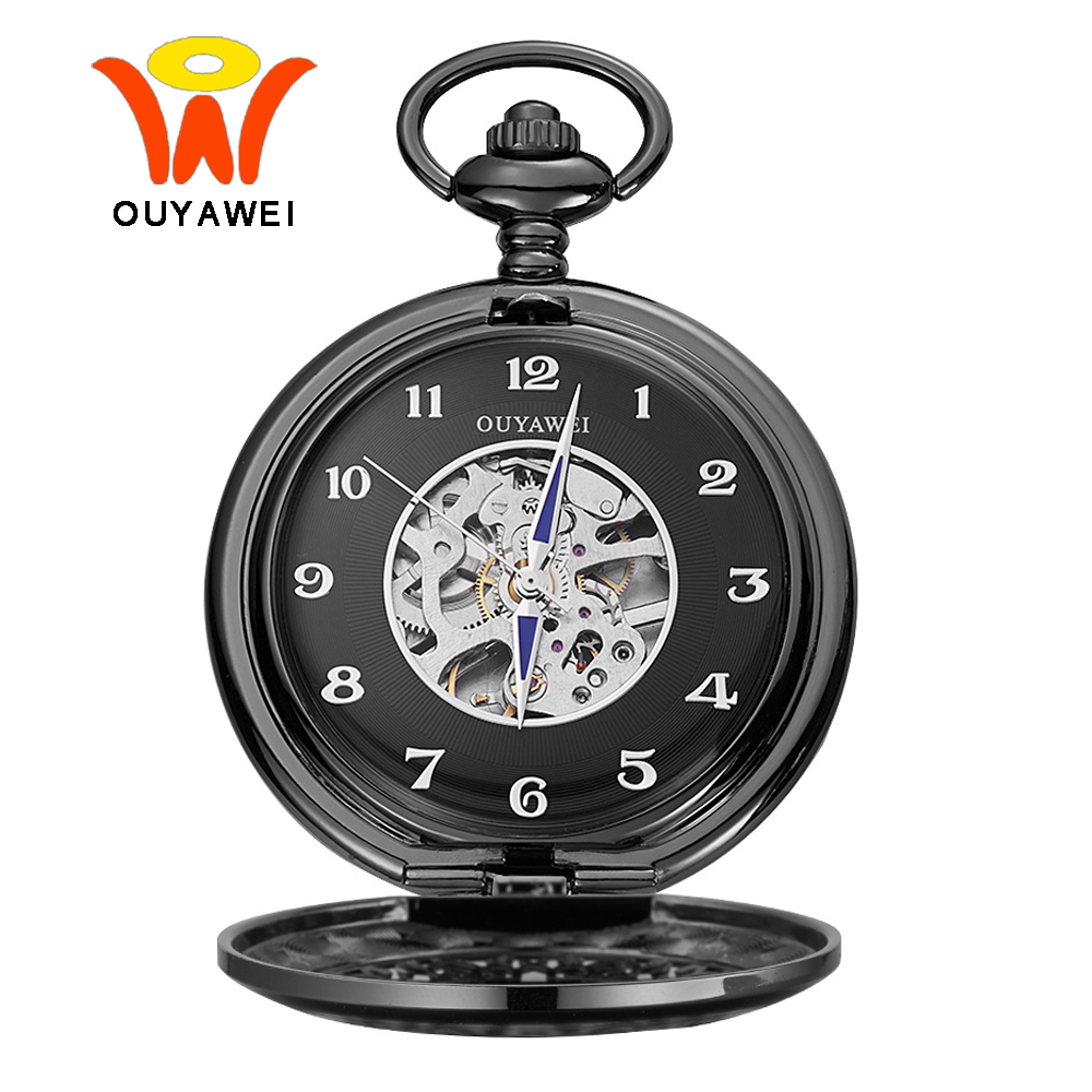 Ouyawei Black Skeleton Mechanical Pocket Watch With Chain Men Retro Blue Hands Hand Wind Clock Necklace Pocket & Fob Watches
