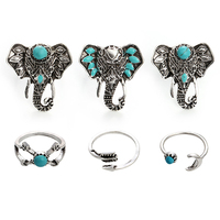 6PCS/Set Turquoise Vintage Elephant Tibetan Style Rings