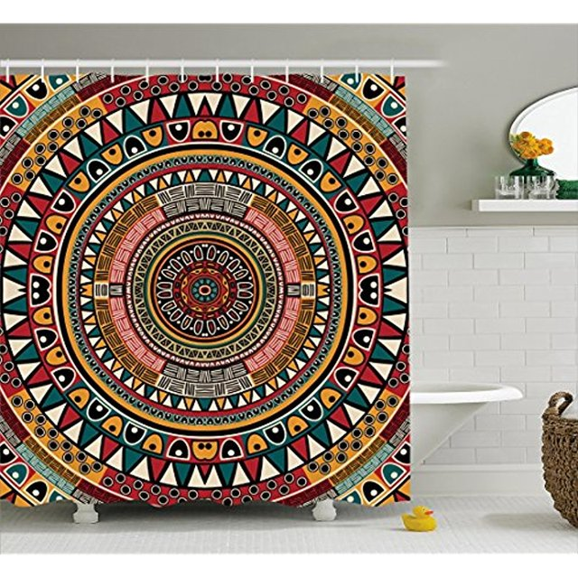 Vixm Tribal Decor Shower Curtain African Folkloric Tribe Round Pattern With Ethnic Colors Aztec Art Fabric
