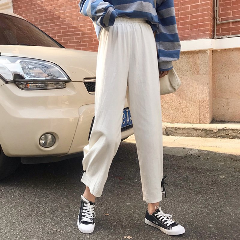 ETOSELL Elastic High Waist Streetwear Women   Pants   Casual Loose Straight Trousers Fashion Solid Ladies Lace Up   Wide     Leg     Pants