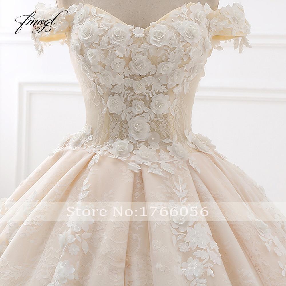 Fmogl Royal Train Sweetheart Ball Gown Wedding Dresses 2019 Appliques Flowers Vintage Lace Bride Gowns Vestido De Noiva