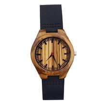 promotion Lovers handmadeGifts Men's Wooden Quartz Watch Women's Natural Ebony Wood Sports Clock Genuine Leather Reloj de madera