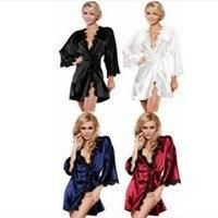 2018 New Women Nightwear Nightgowns Sleepshirts Nightwear Sleepwear Robe Bathrobe Fun Pajamas Sexy Lingerie Lace Perspective