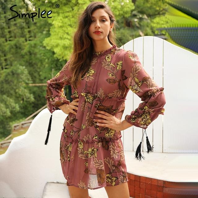 Simplee Vintage boho print tassel summer dress Chiffon ruffle long sleeve short dress vestidos Loose casual sexy dress robe 2017