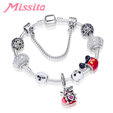 MISSITA Cute Mickey Series Bracelets with Lovely Minnie Charms Beads Brand Bracelet for Women Valentines Day Gift