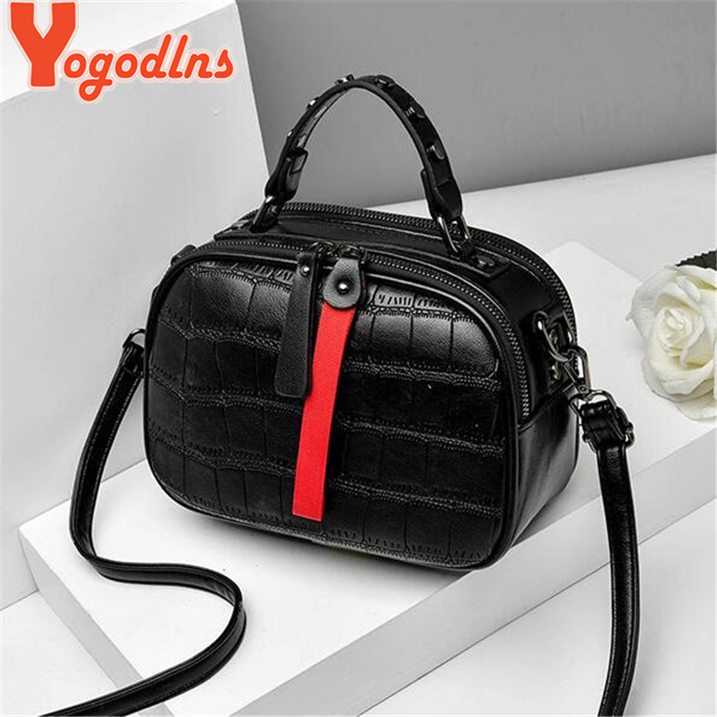 Yogodlns Leisure Pu Leather Messenger Women Bag Ladies Shoulder Bags Contrast Color Zipper Lattice Crossbody Rivet Handbags