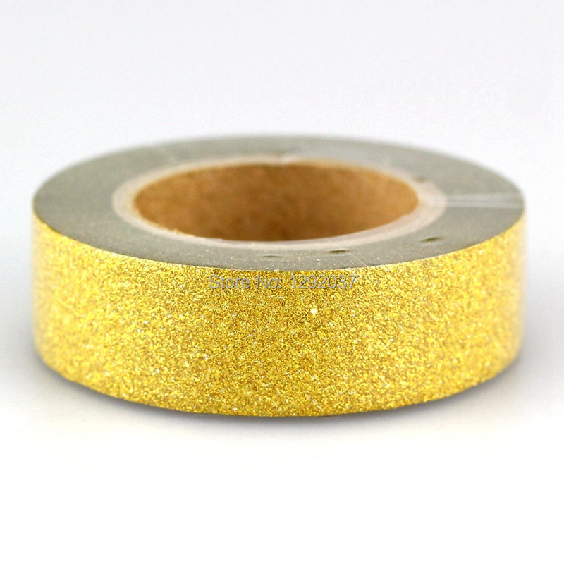 1PCS 15mm*10m Shiny Gold Glitter Tapes Decorative Washi Tape Paper DIY Scrapbooking Adhesive Tapes For Photo Album Stationery