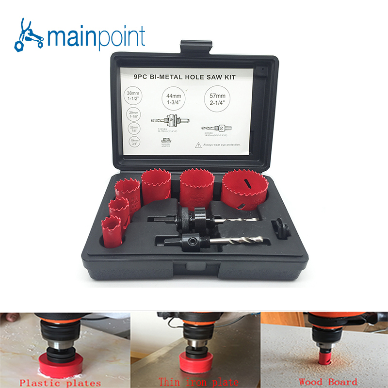 Mainpoint 9Pcs HSS Bi-metal M3 Hole Saw Bit Cutting Set Kit 19-57mm For Cutting Metal Steel Aluminum Iron Wood Alloy Hand Tools