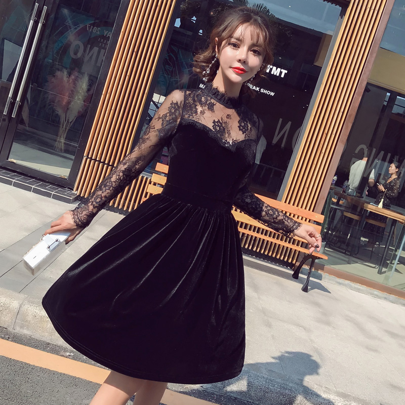 MingJieBiHuo vintage lace stitching long sleeve velvet a line dress womens autumn OL office sexy knee length elegant party dress