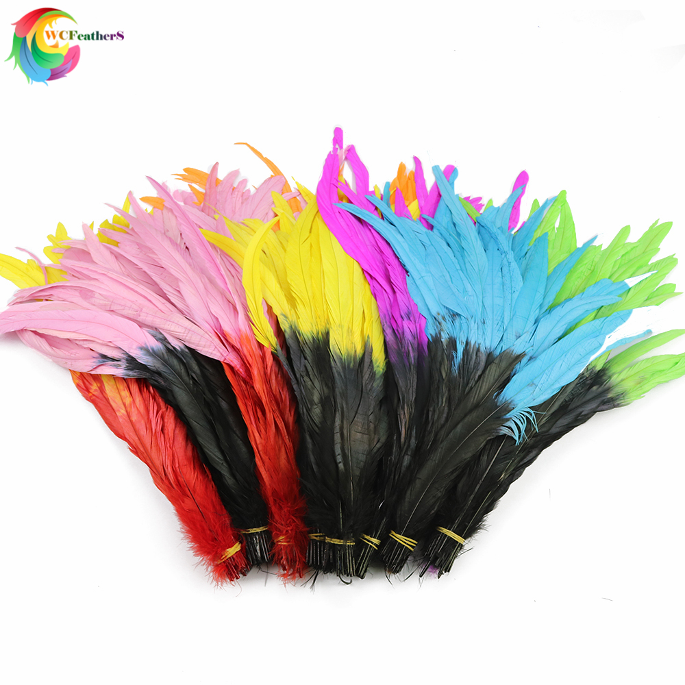 Wholesale 10PCS Dyeing Rooster Tail Feathers 35-40cm White Craft Feather