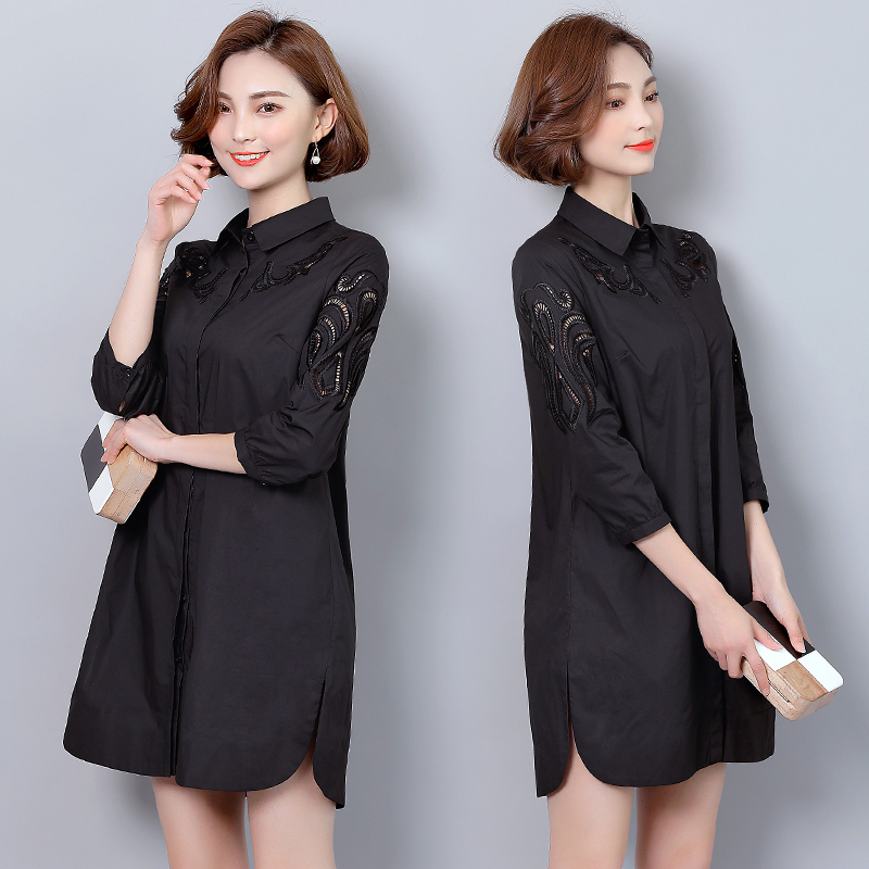 2017 plus size woman clothes fashion office lady long sleeves cotton hollow out lace blouse shirt for 47.5-100kg femme ...