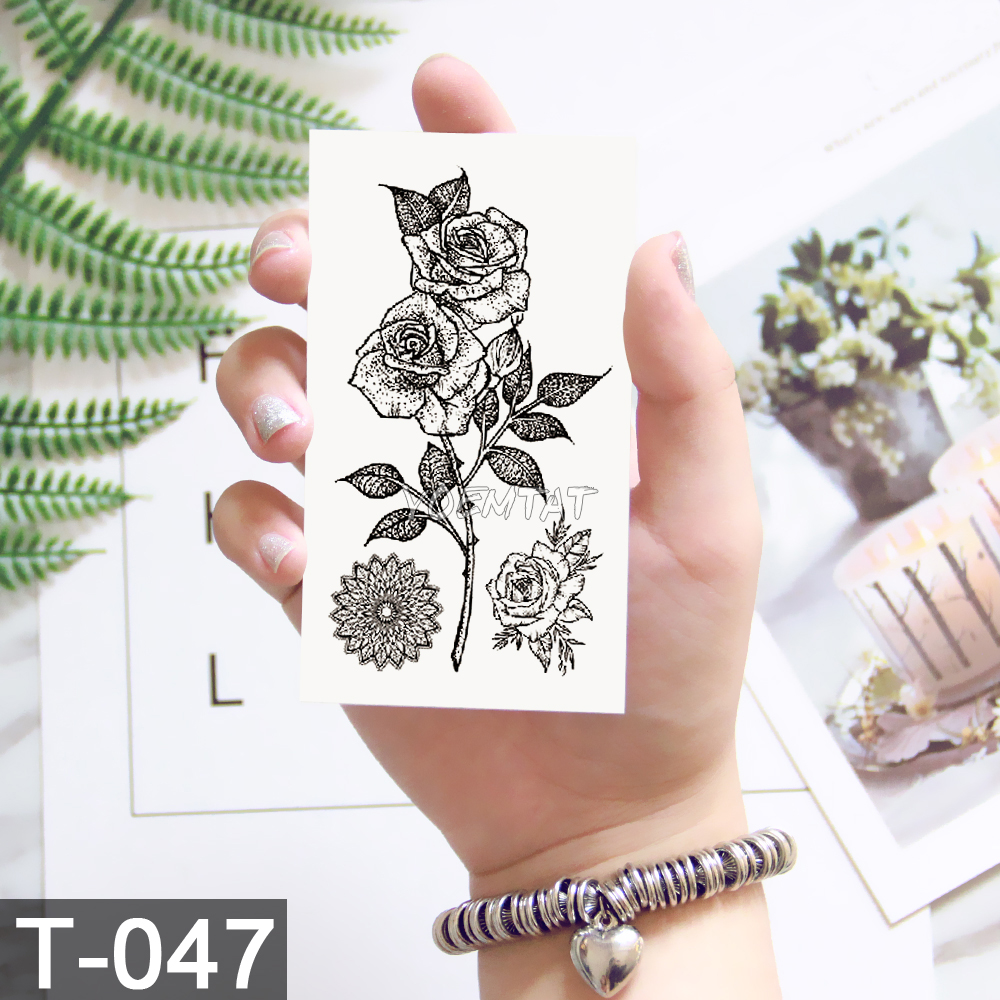 New Waterproof Temporary Tattoo sticker old school rose pattern tattoo Water Transfer tattoo flash tattoo 4