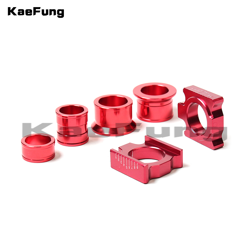 CNC Aluminum Rear Chain Adjuster Axle blocks with wheel busher Spacer sleeve and Brake clevis for CR125 CRF 250X 450R Dirt bike
