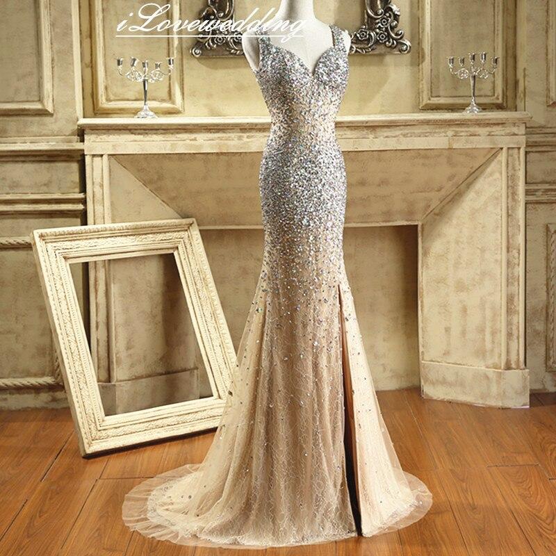 Glänsande Champagne Sjöjungfrun Sida Split Prom Klänningar Med - Särskilda tillfällen klänningar - Foto 2