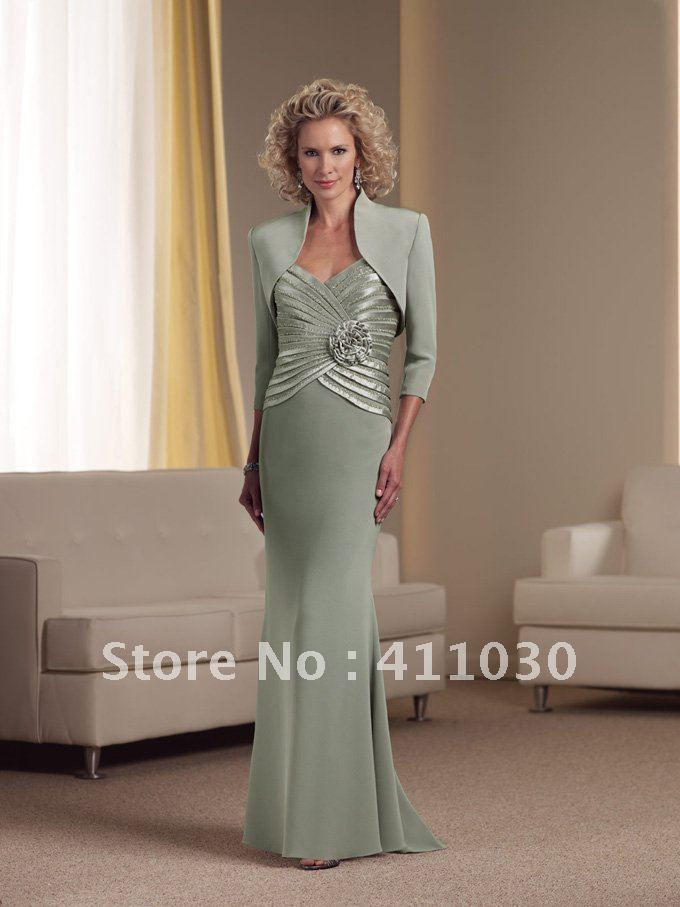0247ad38c5 Custom Made Mother of the Bride Dresses Lady s Gown Dark Sage Silky Crepe  Front Short and Long Back (M D 000043)-in Mother of the Bride Dresses from  ...