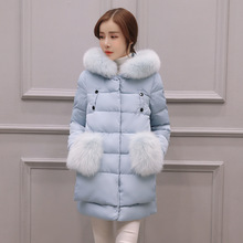 Thickening Cotton Down Parka Coat Ladies Fur Pockets Hooded Down Coat M 3XL Winter Warm Mid