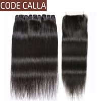 Code Calla Straight Bundles with Closure Brazilian Raw Pre colored Virgin Human Hair Weave 34PCS Bundles With Closure For Women