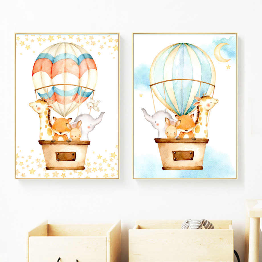 Watercolor Fox Rabbit Giraffe Elephant Balloon Nordic Posters And Prints Wall Art Canvas Painting Wall Pictures Kids Room Decor